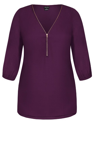 Sexy Fling Elbow Sleeve Top - mulberry
