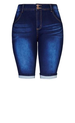 Killer Pins Knee Length Short - indigo