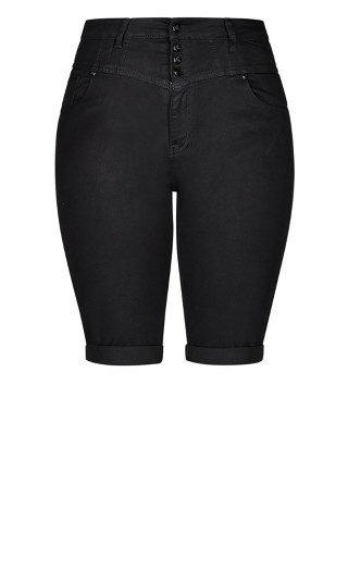 Super High Waist Knee Length Short - black