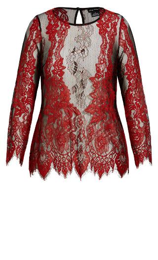 Royal Lace Top - crimson