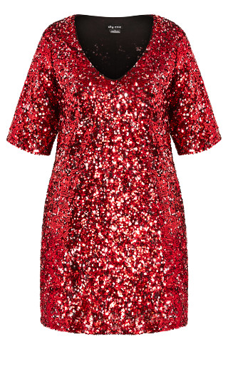 Sequin Glam Dress - crimson