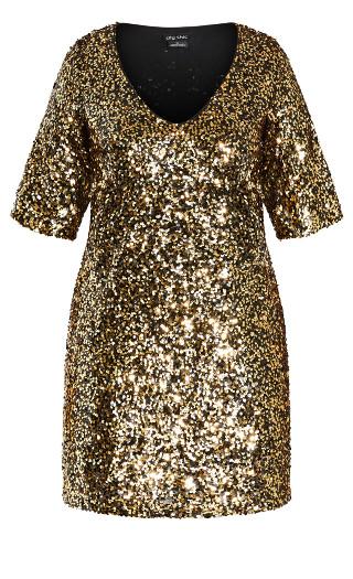Sequin Glam Dress - gold