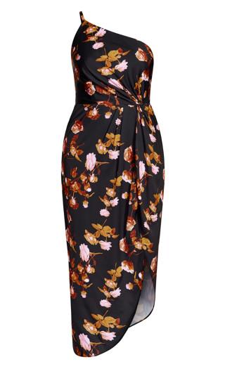 Vivid Floral Dress - black