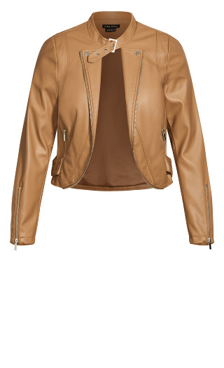 Cropped Biker Jacket - caramel