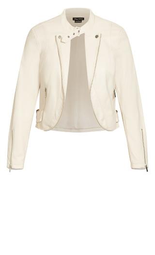 Cropped Biker Jacket - pearl