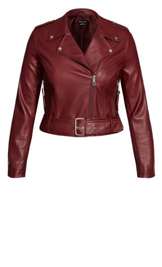 Belted Biker Jacket - beetroot