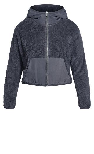 Crop Teddy Jacket - graphite