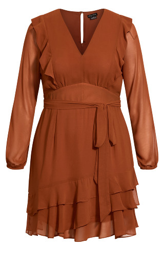 Pretty Ruffle Dress - cinnamon