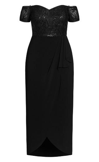 Romantic Ruffle Maxi Dress - black