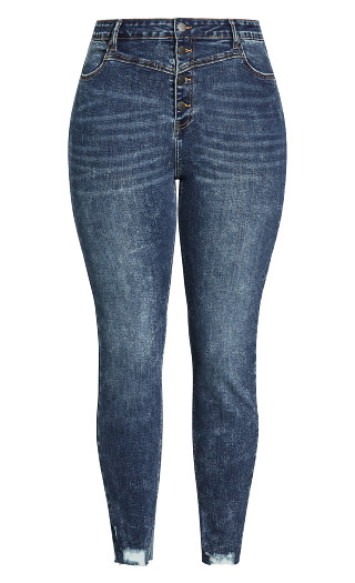 Exposed Button Jean - marble wash