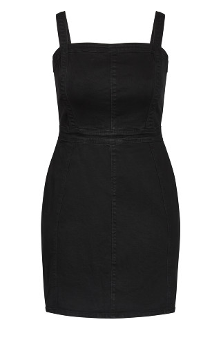 Cute Denim Dress - black