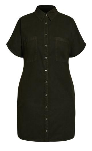 Denim Sleek Dress - olive