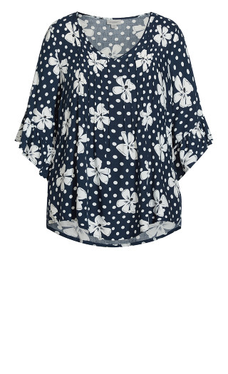 Mulberry Top - navy floral