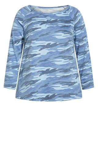 Camo Long Sleeve Tee - blue