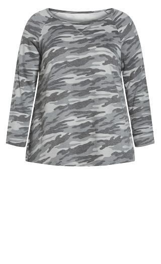 Camo Long Sleeve Tee - grey