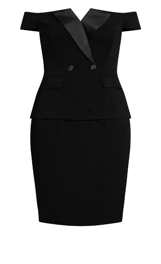 Chic Tux Dress - black