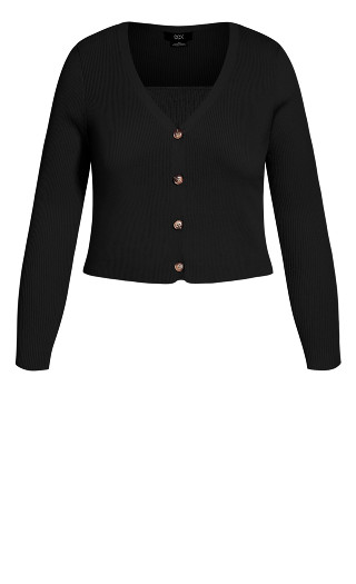 Ribbed Cardigan Set - black