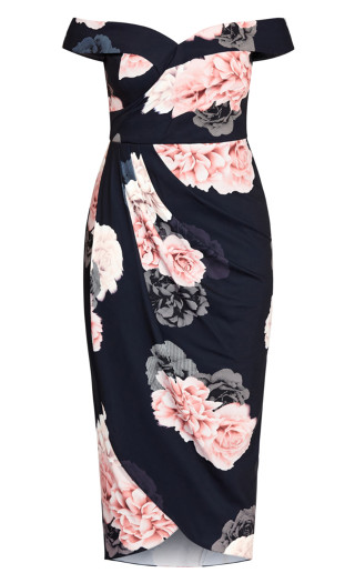 French Floral Dress - navy