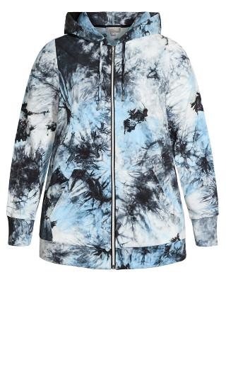 Zip Print Jacket - blue tie dye