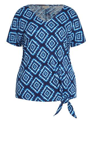 Anya Tie Front Top - blue