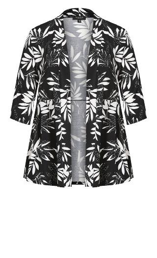 Jen Print Jacket - black palm
