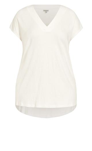 Textured Stretch Top - cream