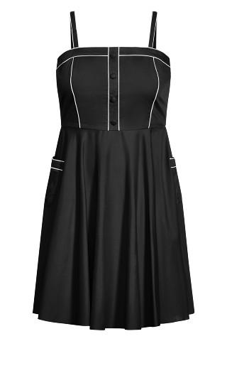 Piping Pin Up Dress - black