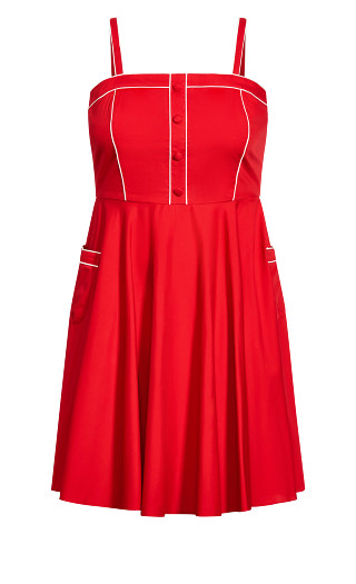 Piping Pin Up Dress - cherry