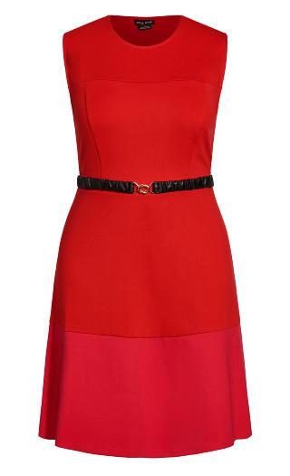 Colour Splice Dress - red