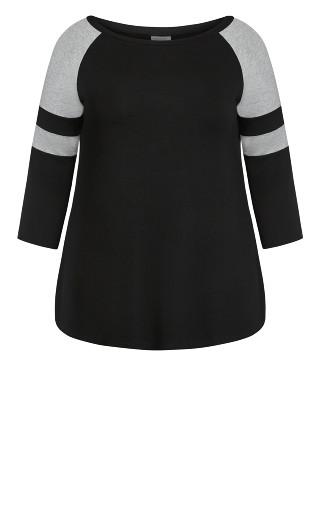 Spliced Sleeve Tee - black grey