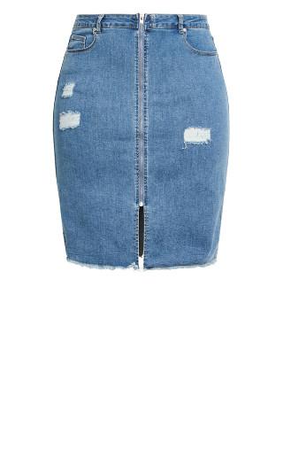 Zip Distress Skirt - denim