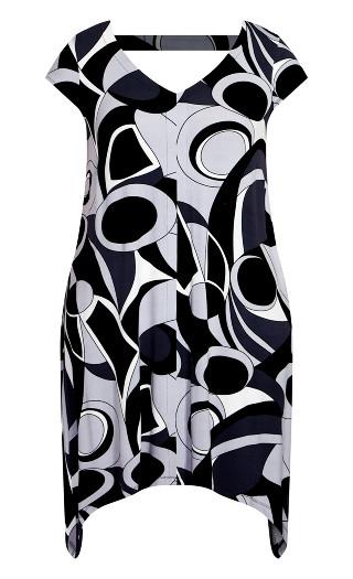 Knit Print Dress - black geo