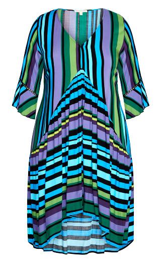 Valencia Mini Dress - aqua stripe