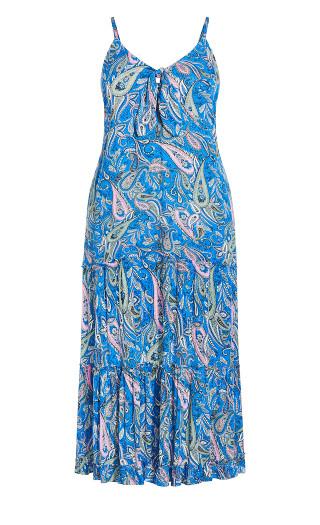 Mykonos Tie Front Maxi Dress - blue