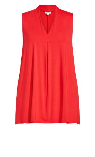 Aria Pleat Top - tango red