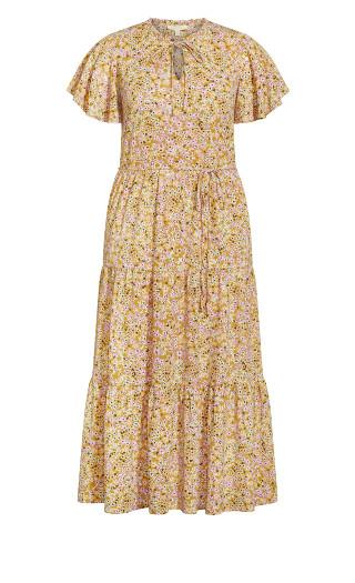 Happy Tier Print Maxi Dress - mustard ditsy