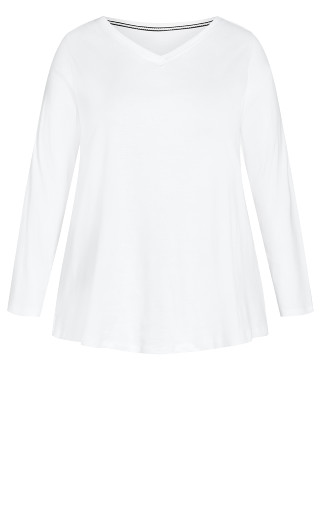 V Neck Essential 3/4 Sleeve Tee - white