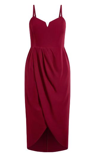 Sassy V Dress - ruby