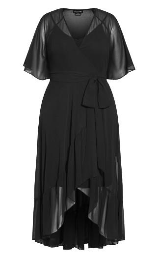Wrap Flutter Maxi Dress - black