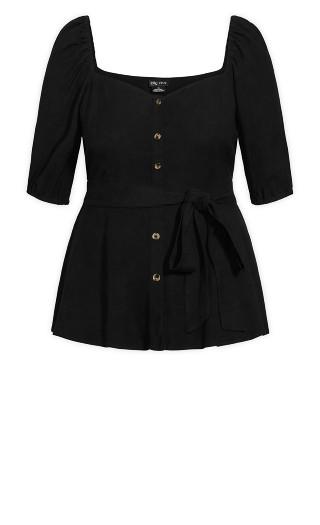 Nouveau Puff Sleeve Top - black