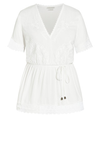 Lust Embroidered Top - ivory