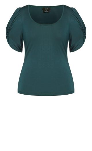 Basic Knot Sleeve Top - emerald