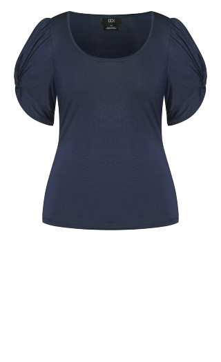 Basic Knot Sleeve Top - french navy
