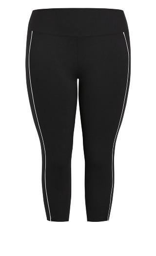 Contrast Trim Cropped Active Legging - black