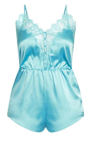Stella Satin Playsuit - aqua blue