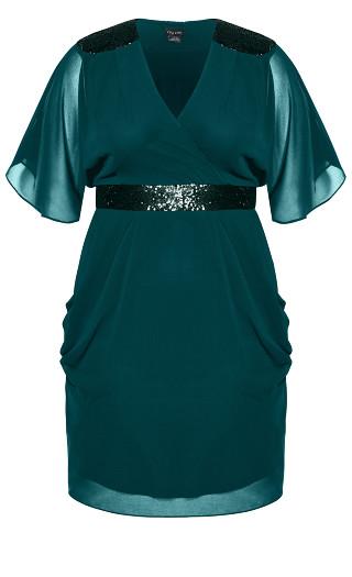 Sequin Wrap Dress - emerald