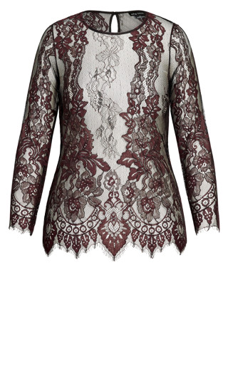 Royal Lace Top - oxblood