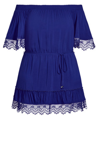 Crochet Detail Dress - electric blue