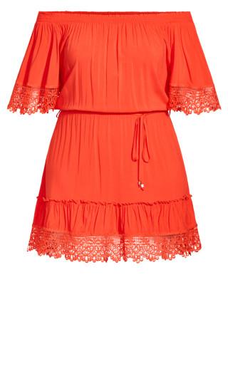 Crochet Detail Dress - papaya
