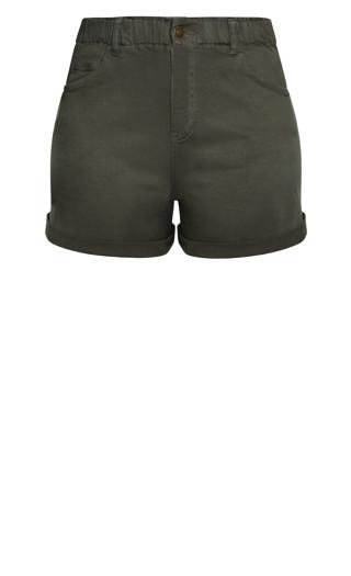 Ruffle Waist Short - khaki